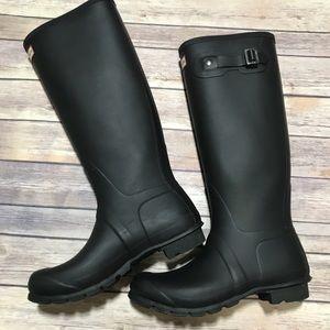 Women's Black Matte Tall Hunter Rains Boots-10